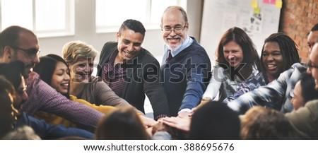 Team Teamwork Join Hands Partnership Concept - stock photo