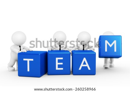 team with boxes - stock photo