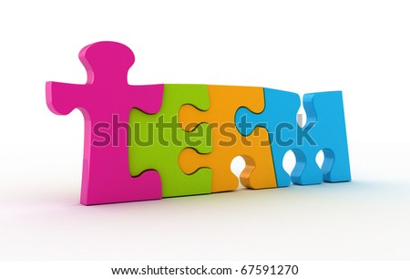 Team word from colored piece of puzzle isolated on white. - stock photo