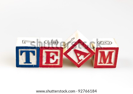 Team word made by letter blocks