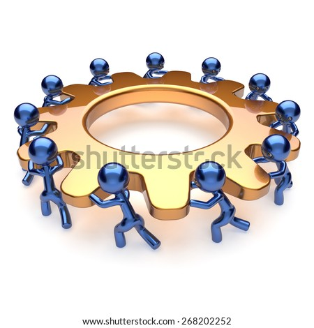 Team work business brainstorming process mans turning gear together. Partnership team cooperation relationship community workers efficiency teamwork concept. 3d render isolated on white - stock photo
