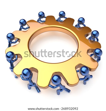 Team work business brainstorming teamwork process mans turning gear together. Partnership cooperation relationship community workers unity efficiency concept. 3d render isolated on white - stock photo
