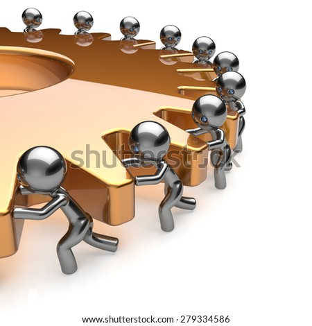 Team work partnership business process men turning golden gear hard job together. Teamwork cooperation manpower community activism workforce concept. 3d render isolated on white - stock photo