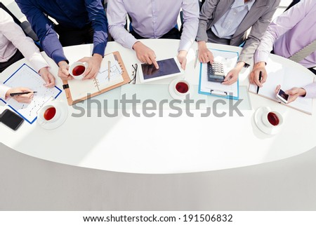 Team working on business project - stock photo