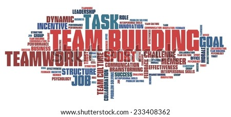 Teambuilding - company teamwork issues and concepts word cloud illustration. Word collage concept. - stock photo