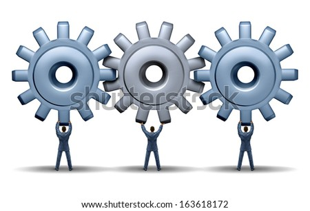 Teamwork achievement business concept as a working group of three businessmen holding up gears and cog wheels connected together in a network for financial success with cooperation and team planning. - stock photo