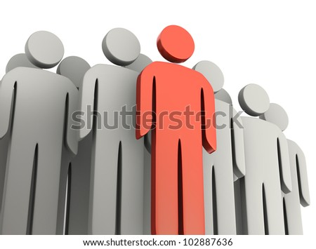 Teamwork and leadership concepts 3d illustration - stock photo
