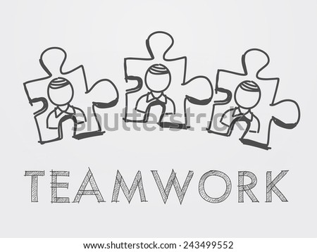teamwork and puzzle pieces with person signs over white background, business team building concept - stock photo