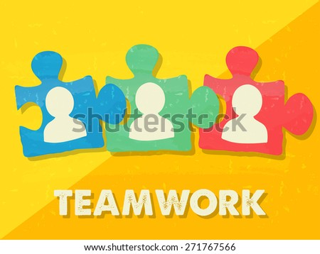 teamwork and puzzle pieces with person signs over yellow background, grunge flat design, business team building concept - stock photo