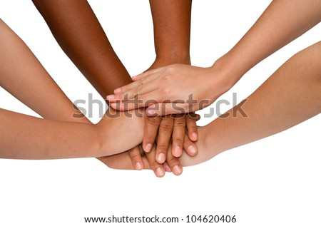 Teamwork and team spirit ,handshake in a group after work  successful - stock photo