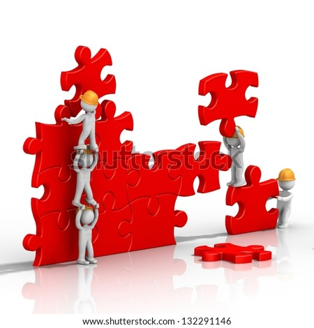 teamwork, building a puzzle - stock photo