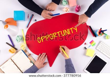 TEAMWORK BUSINESS BRAINSTORM OPPORTUNITY CONCEPT - stock photo