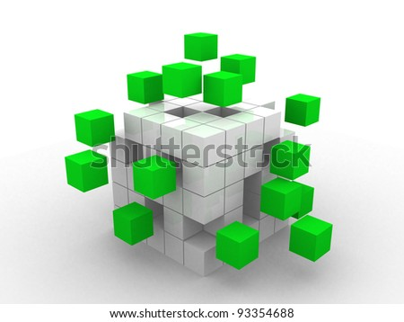 teamwork business concept with green cubes - 3d render