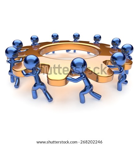 Teamwork business process mans start turning gold gear together. Partnership team cooperation relationship community efficiency concept. 3d render isolated on white - stock photo