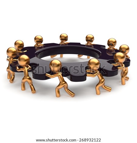 Teamwork business unity brainstorm process men start turning black gear together. Partnership team unity cooperation relationship community efficiency concept. 3d render isolated on white - stock photo