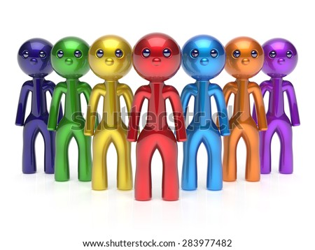 Teamwork characters individuality men crowd leadership businessman commander team seven cartoon persons icon. Social relationship friends concept. 3d render isolated - stock photo