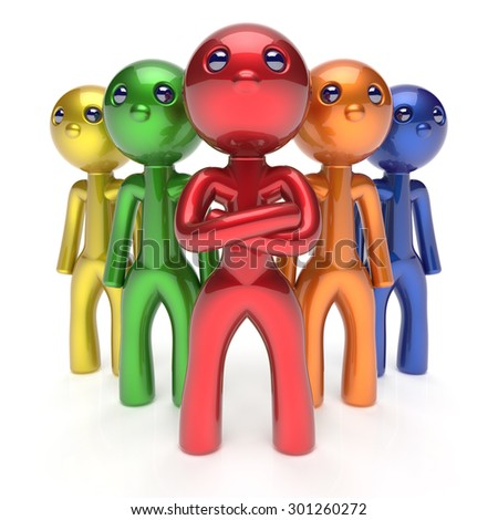 Teamwork characters leader partnership men crowd businessman leadership boss team individuality five cartoon persons icon colorful social relationship friends concept 3d render isolated - stock photo