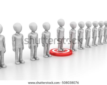 Teamwork Characters with Target Leadership - Teamwork Concept  - High Quality 3D Rendering