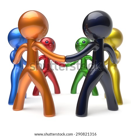 Teamwork circle people individuality characters social network human resources friendship team six different cartoon friends unity meeting icon concept colorful. 3d render isolated - stock photo