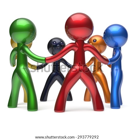 Teamwork circle people social network individuality characters human resources friendship team six different cartoon friends unity meeting brainstorm icon concept colorful. 3d render isolated - stock photo