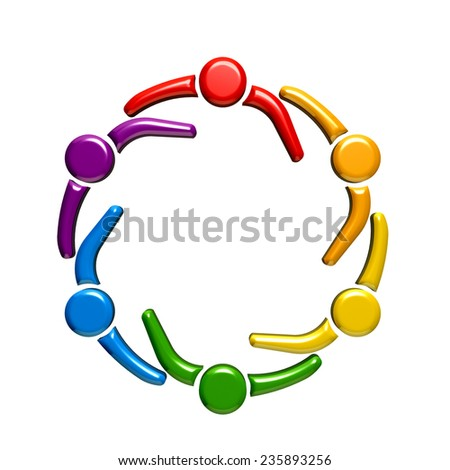 Teamwork circle together group of five people.  - stock photo