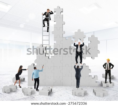 Teamwork collaborates and cooperates for the construction - stock photo