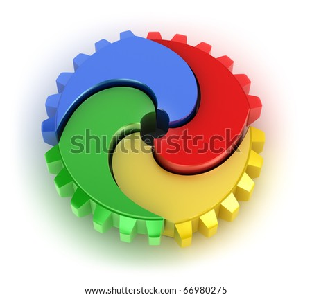 Teamwork colorful concept. On white background