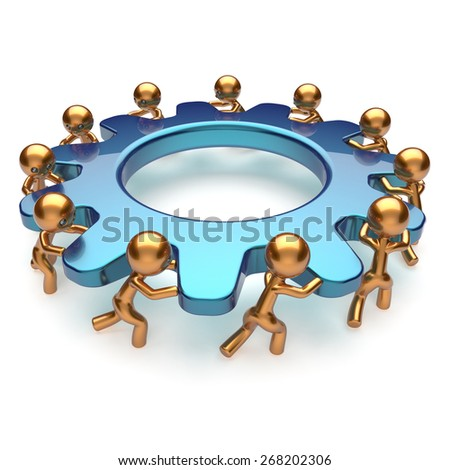 Teamwork community business process mans turning gear together. Brainstorming partnership team cooperation relationship workers efficiency concept. 3d render isolated on white - stock photo