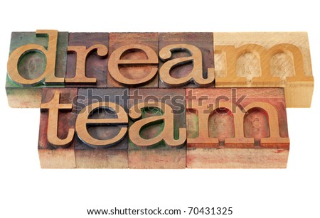 Dream Team Words Teamwork Concept Dream Team