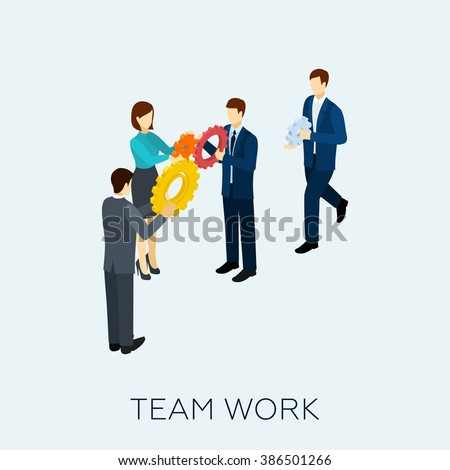Teamwork Concept Isometric - stock photo