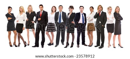 teamwork concept with a big diverse business team on white - stock photo