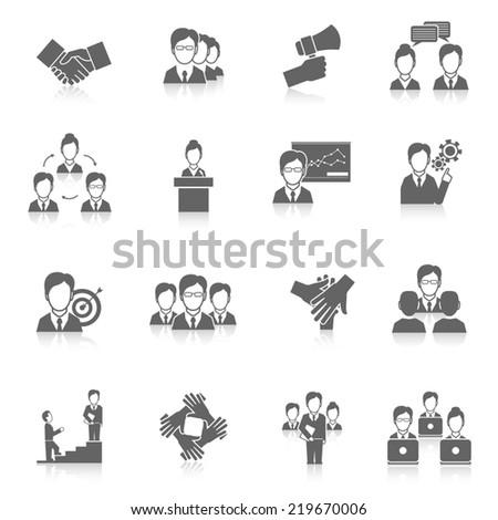 Teamwork corporate organization business strategy black icons set isolated  illustration - stock photo
