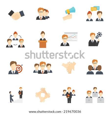 Teamwork corporate organization icons flat icons set isolated  illustration - stock photo