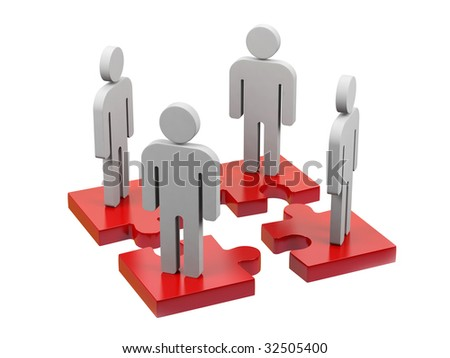 Teamwork. 3d image. - stock photo