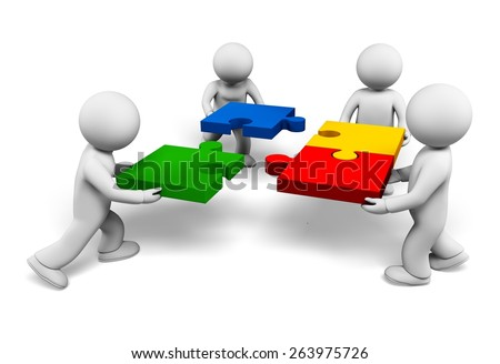 Teamwork. 3D. Successful team - stock photo