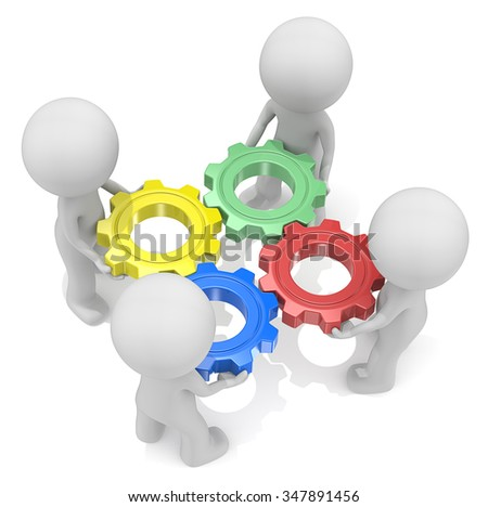 Teamwork. Dude 3D characters X4 holding Cogwheels. Red, Green, Blue and Yellow.Top view.