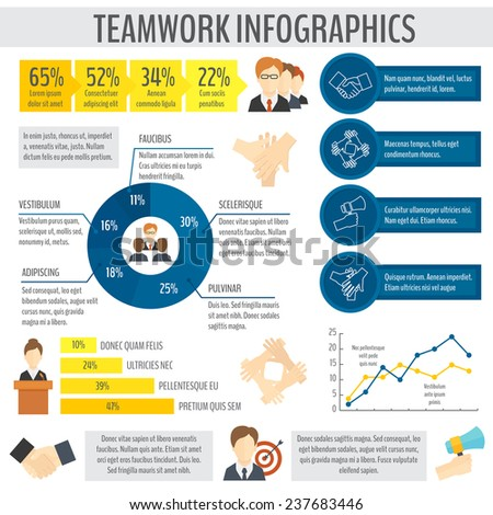 Teamwork effective management and cooperation infographic elements with business charts  illustration - stock photo