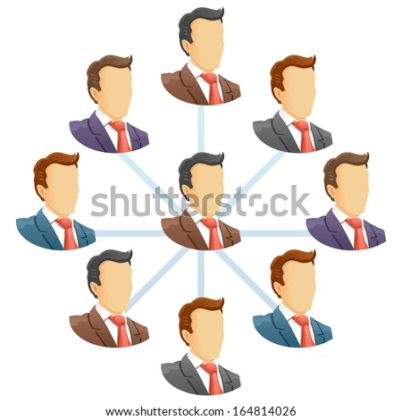 Teamwork flow chart. Network of people. Spider Diagram. Raster version - stock photo