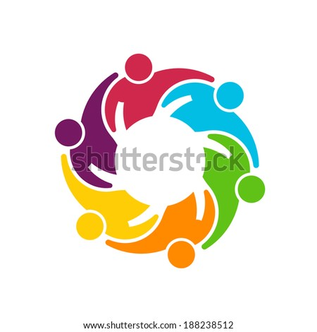 Teamwork Gear. Group of 6 people hugging each other - stock photo