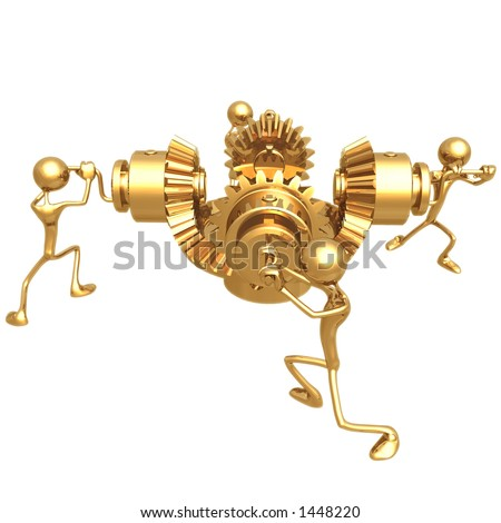 Teamwork Gears - stock photo