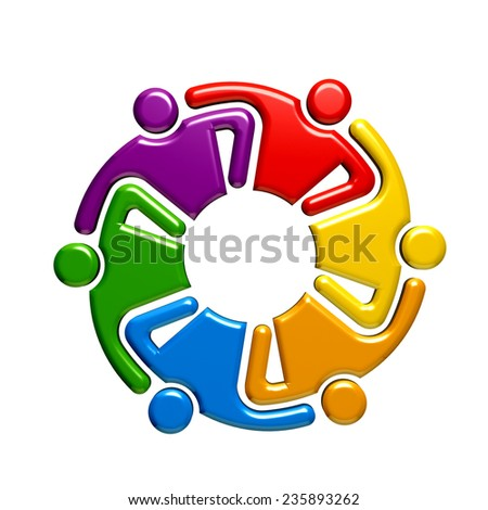 Teamwork hugging group of five people.  - stock photo