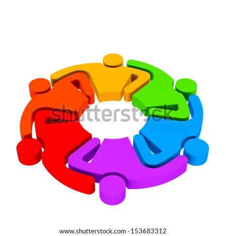 Teamwork Hugging , group of 6 persons , 3D color illustration in white background - stock photo