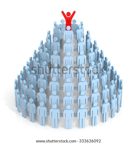 Teamwork. Human Pyramid. 3D Rendering. Isolated white background.