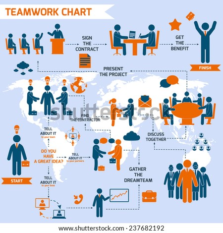 Teamwork infographic set with business process pictograms and world map  illustration - stock photo