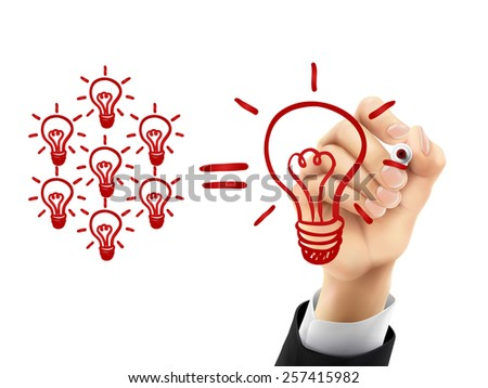 teamwork light bulbs concept drawn by hand on a transparent board - stock photo