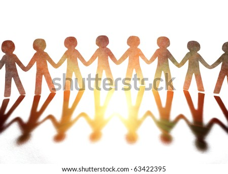 teamwork, paper people - stock photo
