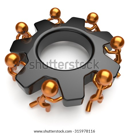 Teamwork partnership men characters team gear wheel business process workers turning cogwheel black gearwheel together cooperation relationship community make work easy concept 3d render isolated - stock photo
