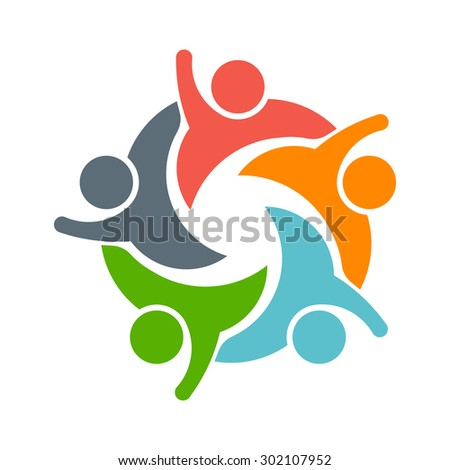 Teamwork People logo. Image of five persons  - stock photo
