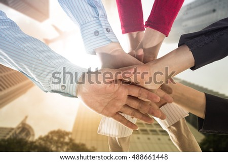 Teamwork people touch hands for unity group to succuss business.