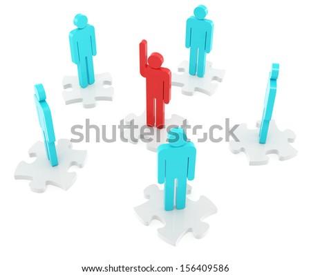 Teamwork puzzle on the white background - stock photo